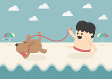 Business and dog play on the beach Royalty Free Stock Image