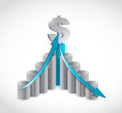 Business dollar graph illustration design Royalty Free Stock Photos