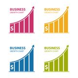 Business Dollar Growth Chart - Colorful Vector Icons - Isolated On White. Background Stock Photos