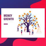 Business dollar plant coins, graph, chart increase profit and finance stretching rising up stock illustration