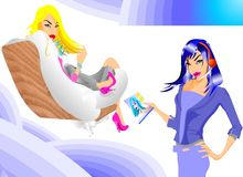 Business Dolls in The Airplane royalty free stock photos