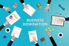 Business domination concept work in desk with graph document Royalty Free Stock Photo
