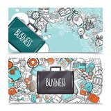 Business Doodle Banner Set Royalty Free Stock Photo
