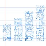 Business Doodle Bar Graph Royalty Free Stock Photography