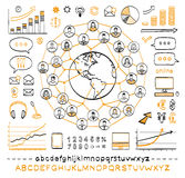 Business doodle concept. Connecting people. Global business. Vector hand drawn sketch icons in black and orange colors. Hand drawn letters of alphabet and Stock Photography