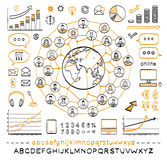 Business doodle concept. Connecting people. Global business. Vector hand drawn sketch icons in black and orange colors. Hand drawn letters of alphabet and Royalty Free Stock Photography