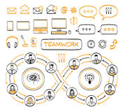 Business doodle concept. Vector hand drawn sketch icons set in black and orange colors. Team work. Connecting people.  on white background Stock Image