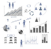 Business doodle, elements of infographics, business plan, financ. Ial statements, strategy. Illustration Stock Images