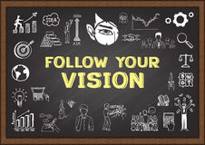 Business doodle about follow your vision on chalkboard. Royalty Free Stock Image