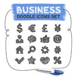 Business Doodle Icons Set. Business doodle icons. Vector hand-drawn elements set. Isolated on white background. Clipping paths included Royalty Free Stock Images
