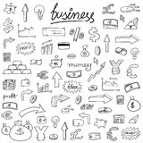 Business doodle icons. Business icons - doodle style illustration with money, currencies and finance object symbols Royalty Free Stock Image