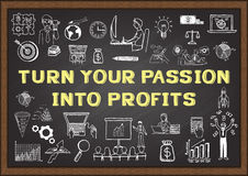 Business doodle with phrase TURN YOUR PASSION INTO PROFITS on chalkboard Stock Photos
