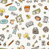 Business Doodle Seamless. Seamless background with business doodle elements. Business hand drawn texture made in vector. Sketch style pattern Stock Images