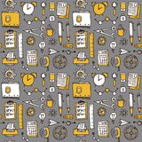 Business doodle seamless office background, vector Stock Photography