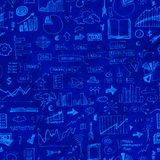 Business doodle seamless pattern. Business doodle set seamless pattern on blue background Stock Photos