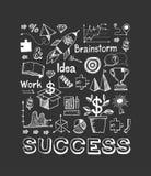 Business doodle set. Set with business doodles on dark background vector illustration