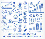 Business doodle set. Hand drawn sketch icons  isolated on white background. Business team. Hand drawn letters of alphabet and numbers. Vector illustration Royalty Free Stock Images