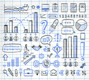 Business doodle set. Business doodle set on paper background. Vector hand drawn sketch icons in black and blue colors. Infographics Stock Photo