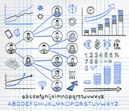 Business doodle set. On paper background. Vector hand drawn sketch icons in black and blue colors. Business team. Hand drawn letters of alphabet and numbers Royalty Free Stock Photo