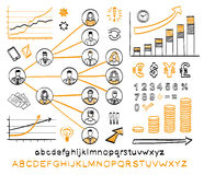 Business doodle set. Vector hand drawn sketch icons in black and orange colors. Business team. Hand drawn letters of alphabet and numbers.  on white background Royalty Free Stock Photos