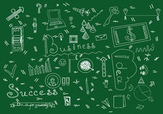Business Doodle Stuff Vector Illustration. Business Symbols Silhouette Isolated On Green Background. stock photos