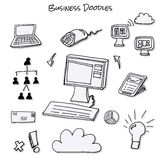 Business Doodles. Doodle representations of various aspects of business from tablets to computers to cloud computing vector illustration