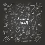 Business doodles, chalk on blackboard. Vector Stock Photography