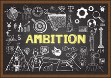 Business doodles on chalkboard with ambition concept Royalty Free Stock Images