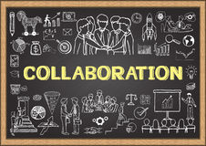 Business doodles on chalkboard with the concept of Collaboration. Stock Photo