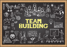 Business doodles on chalkboard with the concept of TEAM BUILDING. Stock Image