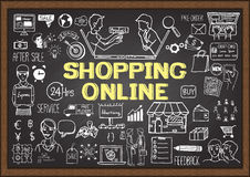 Business doodles on chalkboard with shopping online concept. Royalty Free Stock Images