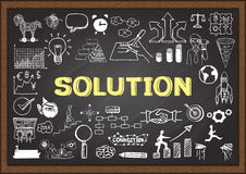 Business doodles on chalkboard with solution concept. Stock Photos