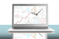Business doodles with clock hands on laptop screen Stock Photography