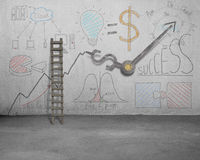 Business doodles and clock hands on wall with ladder Royalty Free Stock Photo