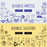 Business doodles with the concept of business analysis and solutions Royalty Free Stock Photo