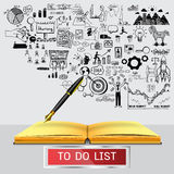 Business doodles with fountain pen writing on empty notebook with transparent frame with the world TO DO LIST. Business doodles with fountain pen writing on Stock Image