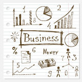 Business doodles hand drawn set. Stock Image