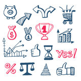Business doodles icons set. Hand drawn elements, financial education and marketing concept, vector illustration Stock Photos