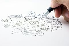 Business doodles icons set - hand drawn royalty free stock photos
