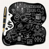 Business doodles icons set. Ink concept. Royalty Free Stock Photos