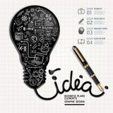 Business doodles icons set. Ink shaped light bulb