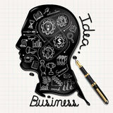 Business doodles icons set. Ink shaped people head stock illustration