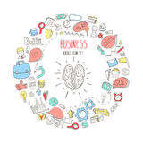 Brain. Business doodles icons set. Sketch icons isolated on white. Hand drawn business elements in circle. Brain. Business doodles icons set. Sketch icons Royalty Free Stock Photo