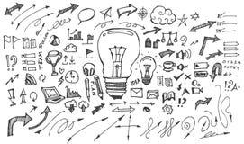 Business doodles sketch handrawn ink. stock illustration