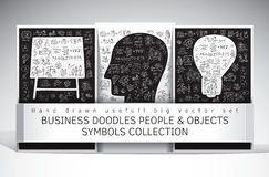 Business doodles people and objects symbols set Stock Photo