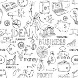 Business doodles seamless pattern Stock Image