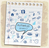 Business doodles set paper note, vector illustration Royalty Free Stock Image