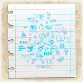 Business doodles set on paper note, vector illustration Royalty Free Stock Image