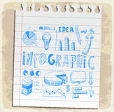 Business doodles set  on paper note, vector illustration Stock Photos