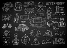 Business doodles Sketch set : infographics elements isolated, ve Royalty Free Stock Photos